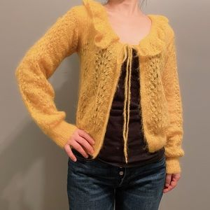 Sweaters - Vintage Soft yellow sweater cardigan